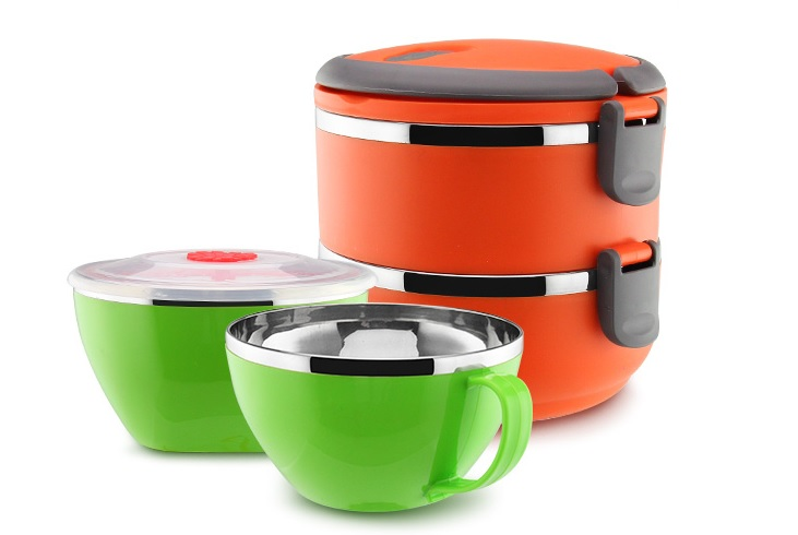 different colured tiffin lunch boxes