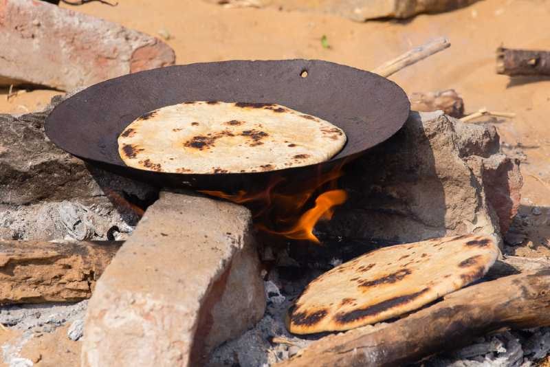 traditional tawah on a fire in India